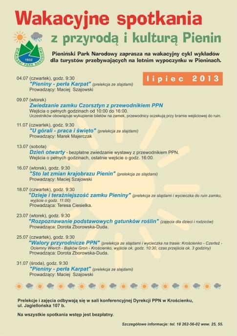 Wakacyjne spotkania z przyrodą i kulturą Pienin (Krościenko n/D 04-31.07.2013)